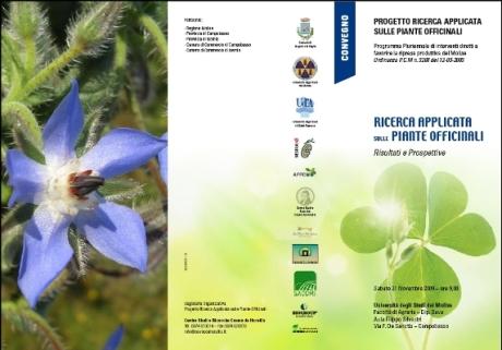 La locandina dell'evento sulle piante officinali che si svolgerà sabato 21 novembre presso la Facoltà di Agraria dell'Università degli Studi del Molise a Campobasso